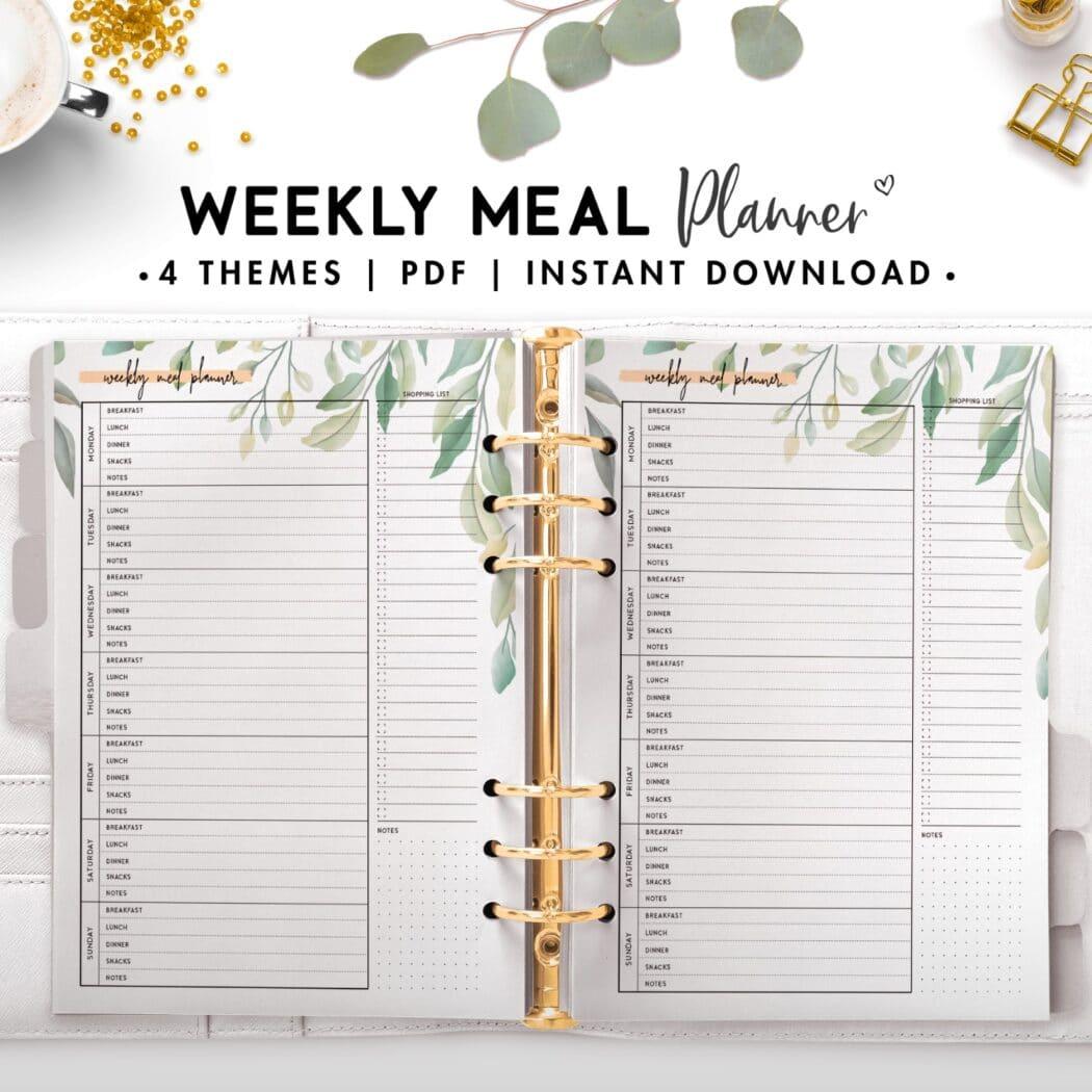 weekly meal planner - botanical