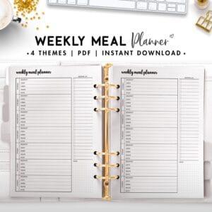 weekly meal planner - cursive