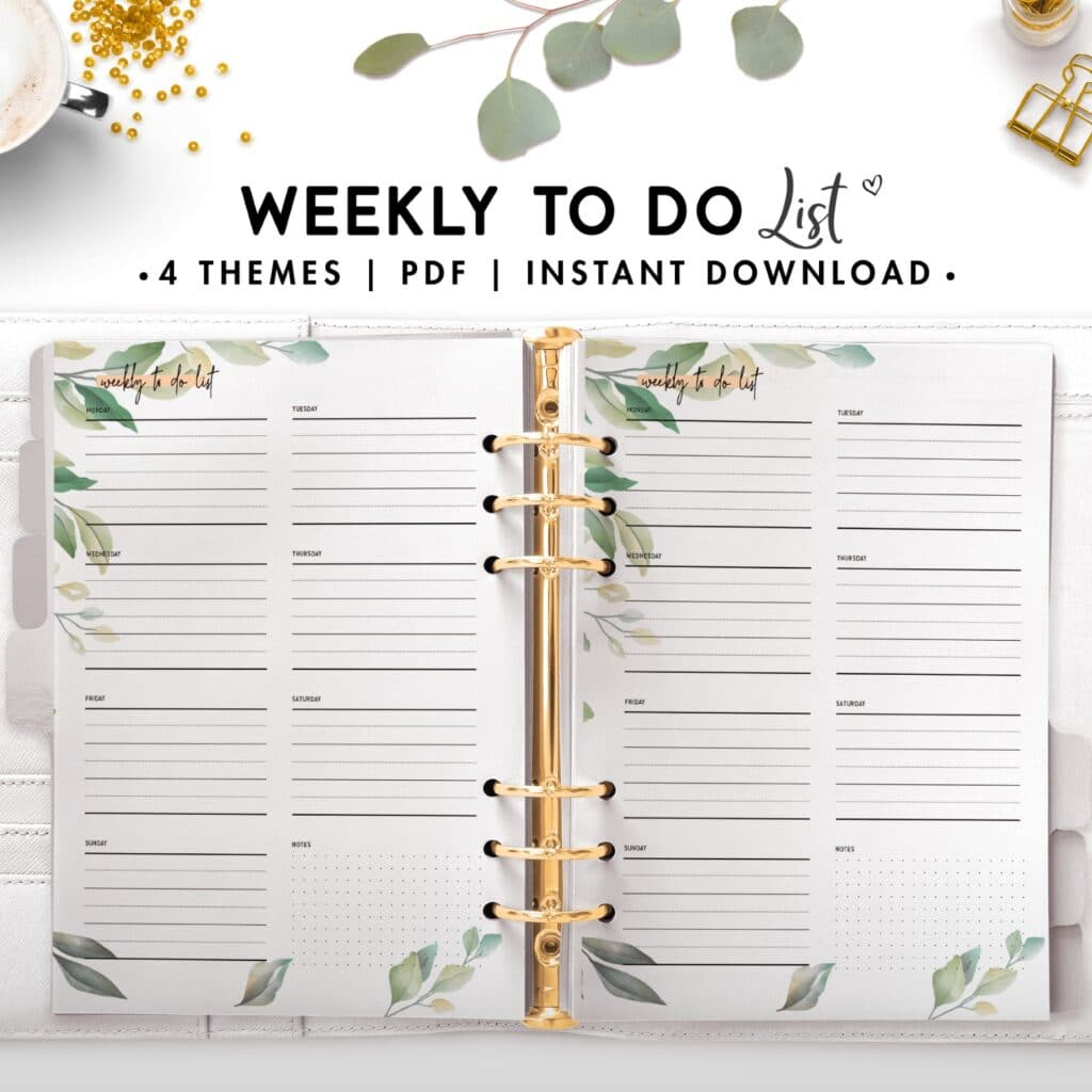 weekly to do list - botanical