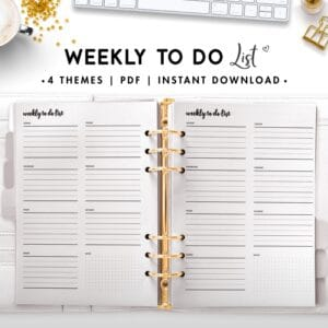 weekly to do list - cursive