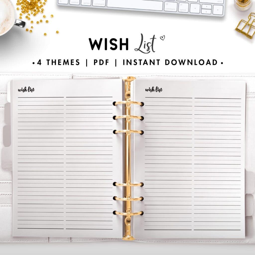 wish list - cursive
