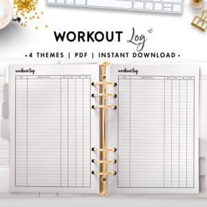 workout log - cursive