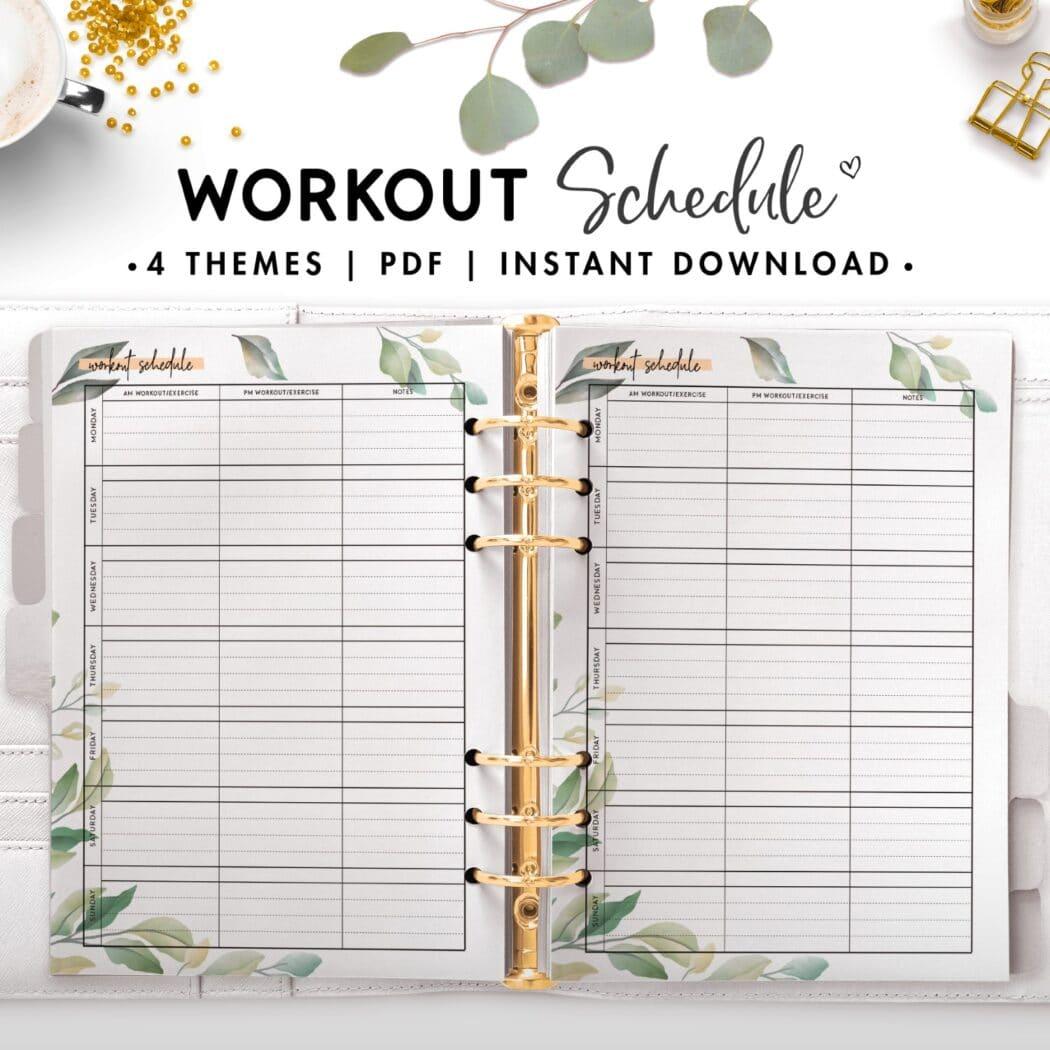 workout schedule - botanical