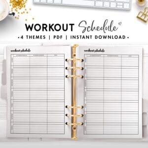 workout schedule - cursive