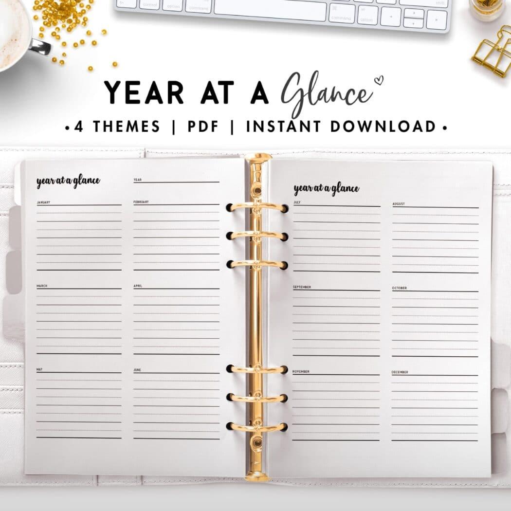 year at a glance - cursive