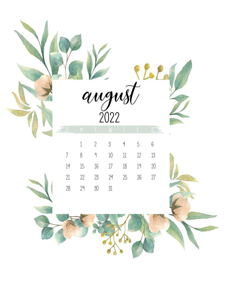 2022 calendar - august