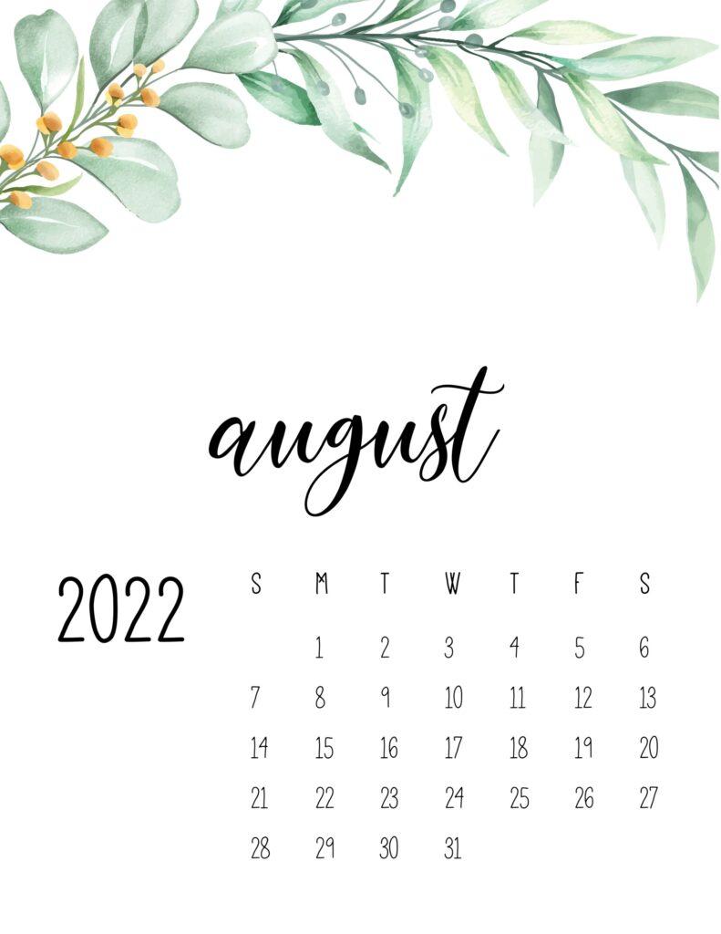 2022 calendar floral - august