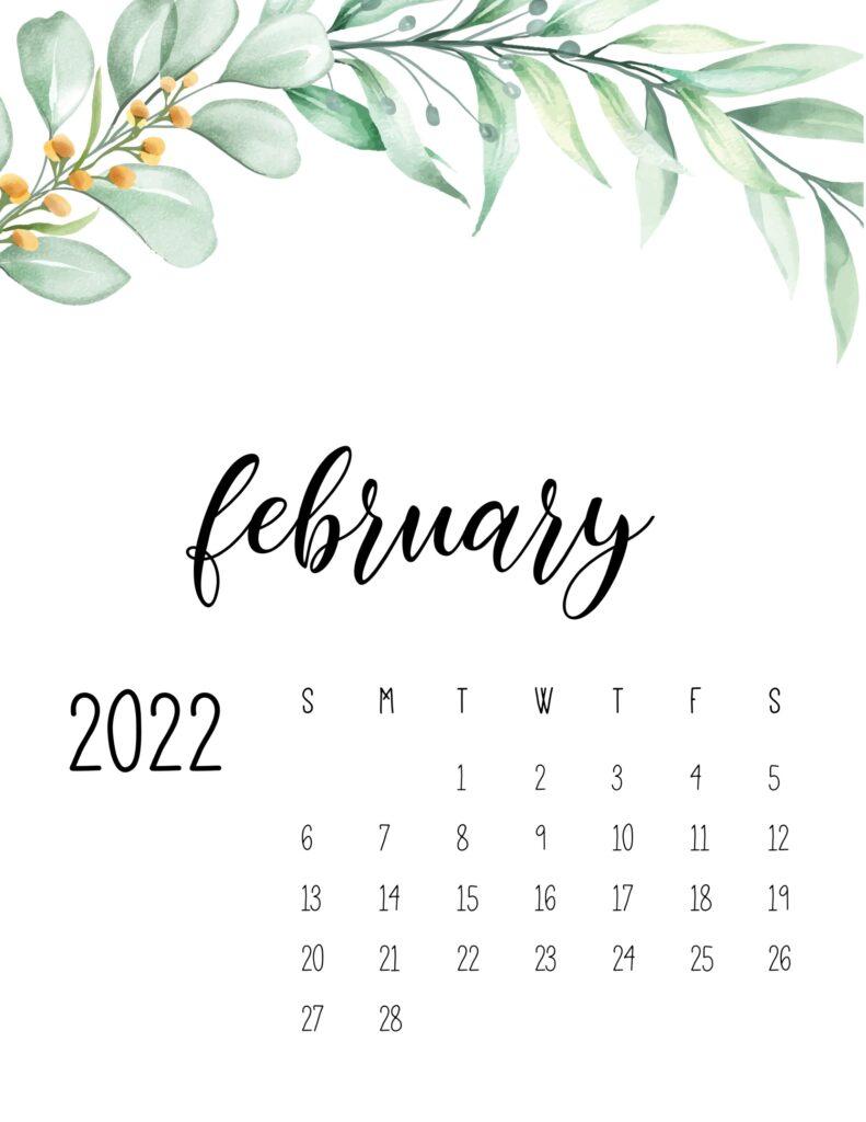 2022 calendar floral - february