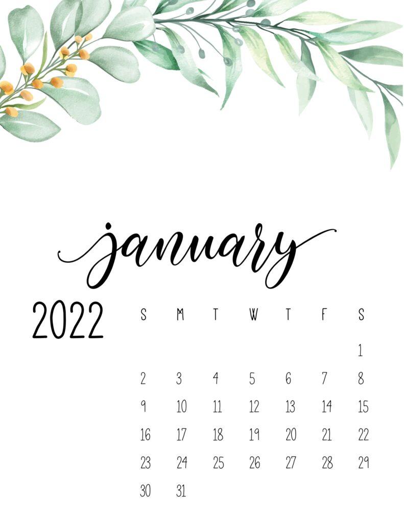 2022 calendar floral - january