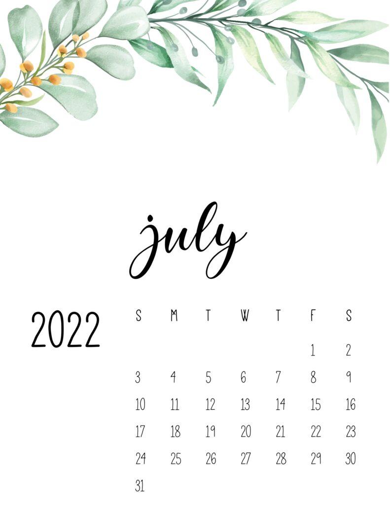 2022 calendar floral - july