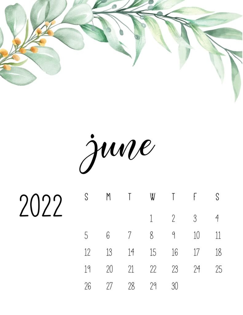 2022 calendar floral - june