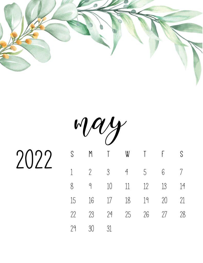 2022 calendar floral - may