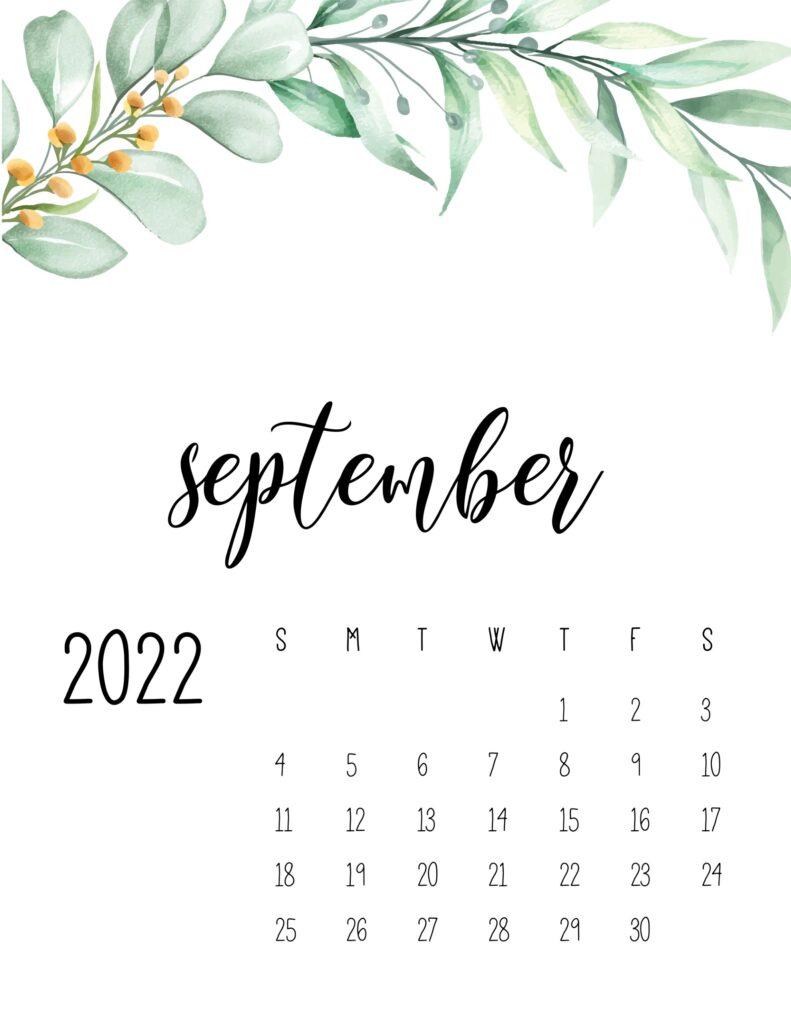 2022 calendar floral - september