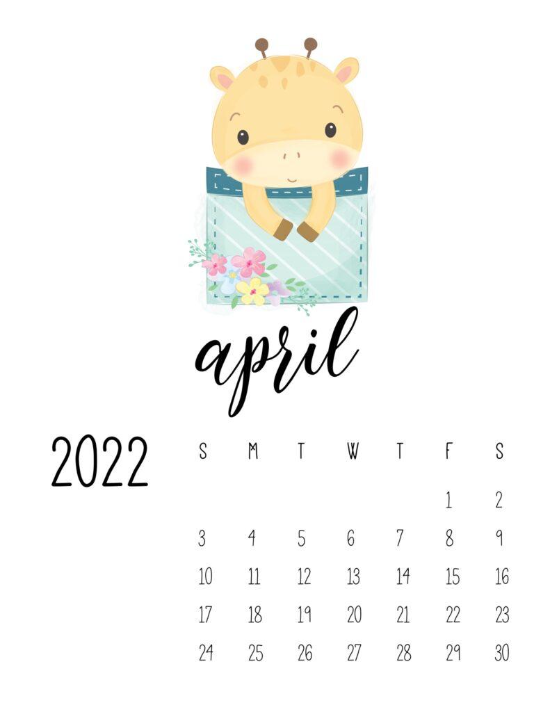 2022 calendar for preschooler - april