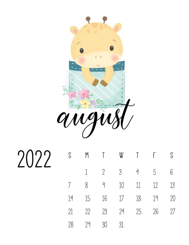 2022 calendar for preschooler - august