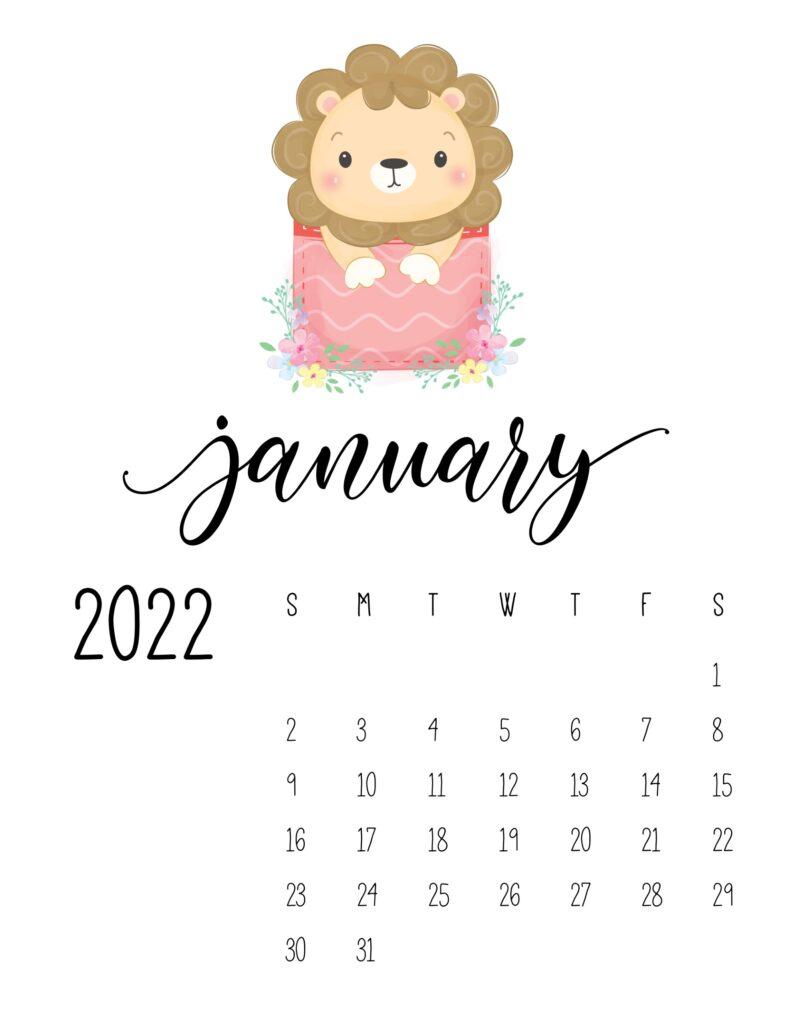 2022 calendar for preschooler - january