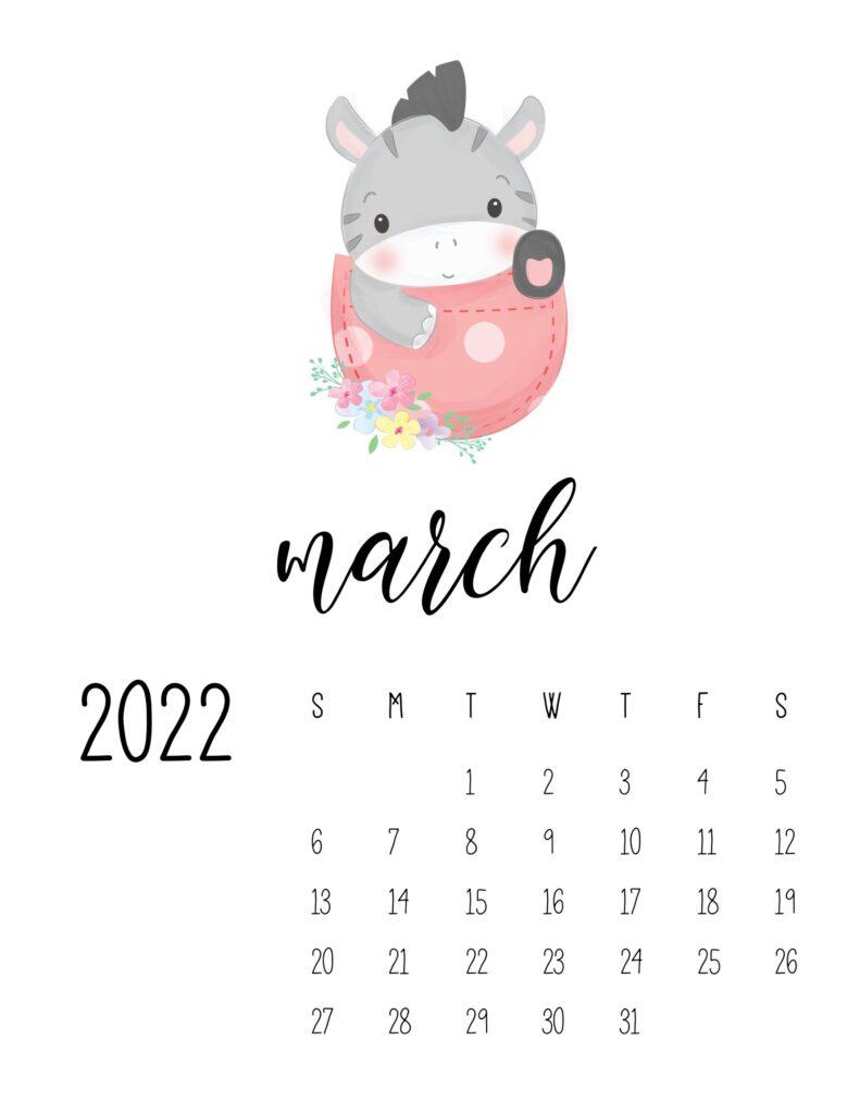 2022 calendar for preschooler - march