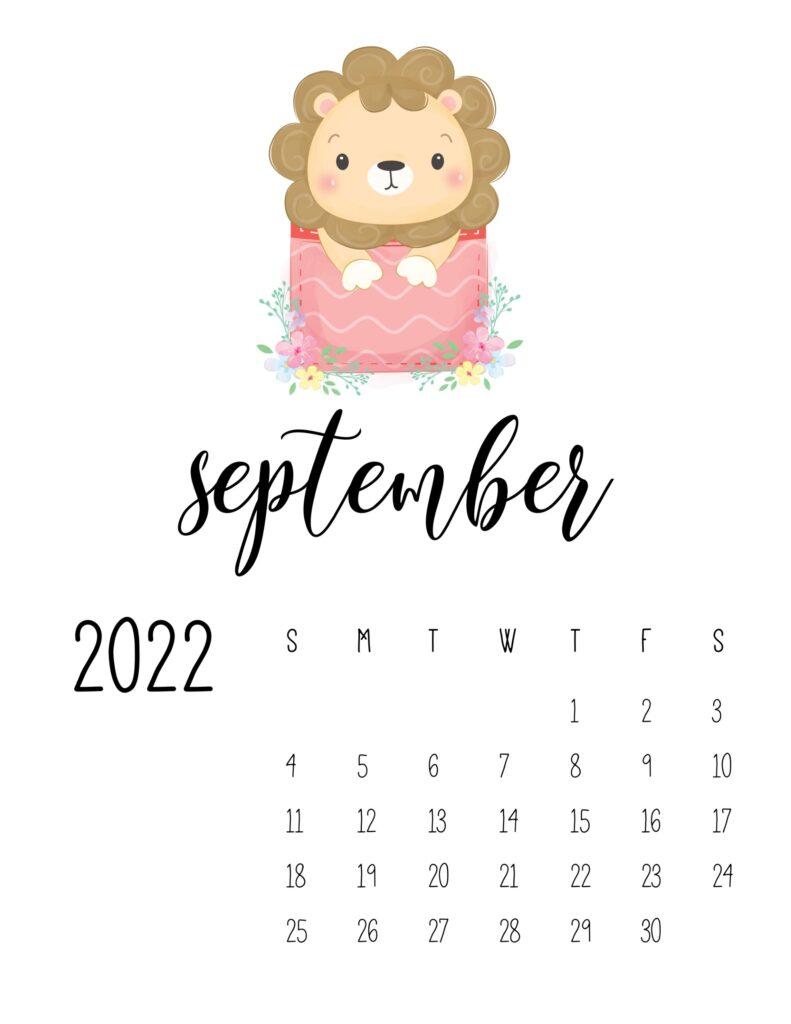 2022 calendar for preschooler - september