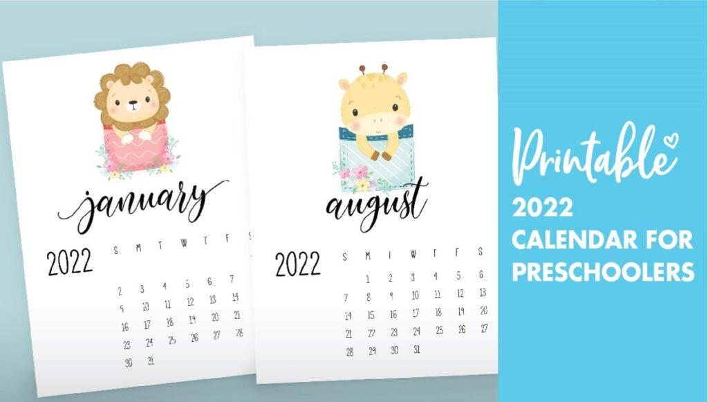 2022 calendar for preschoolers