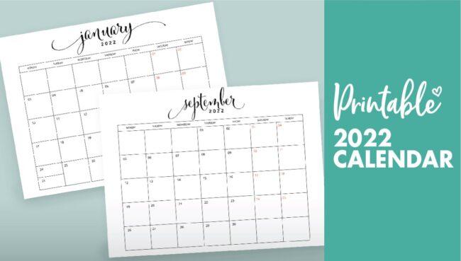 2022 calendar free printable