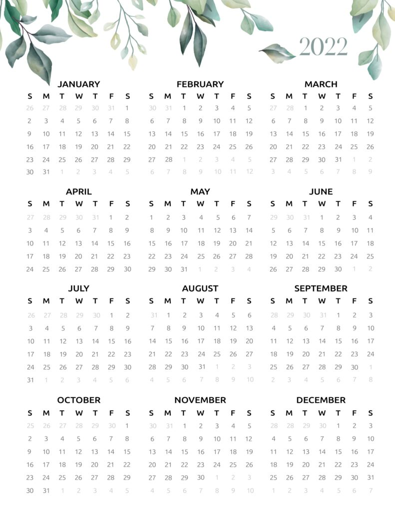 2022 calendar one page