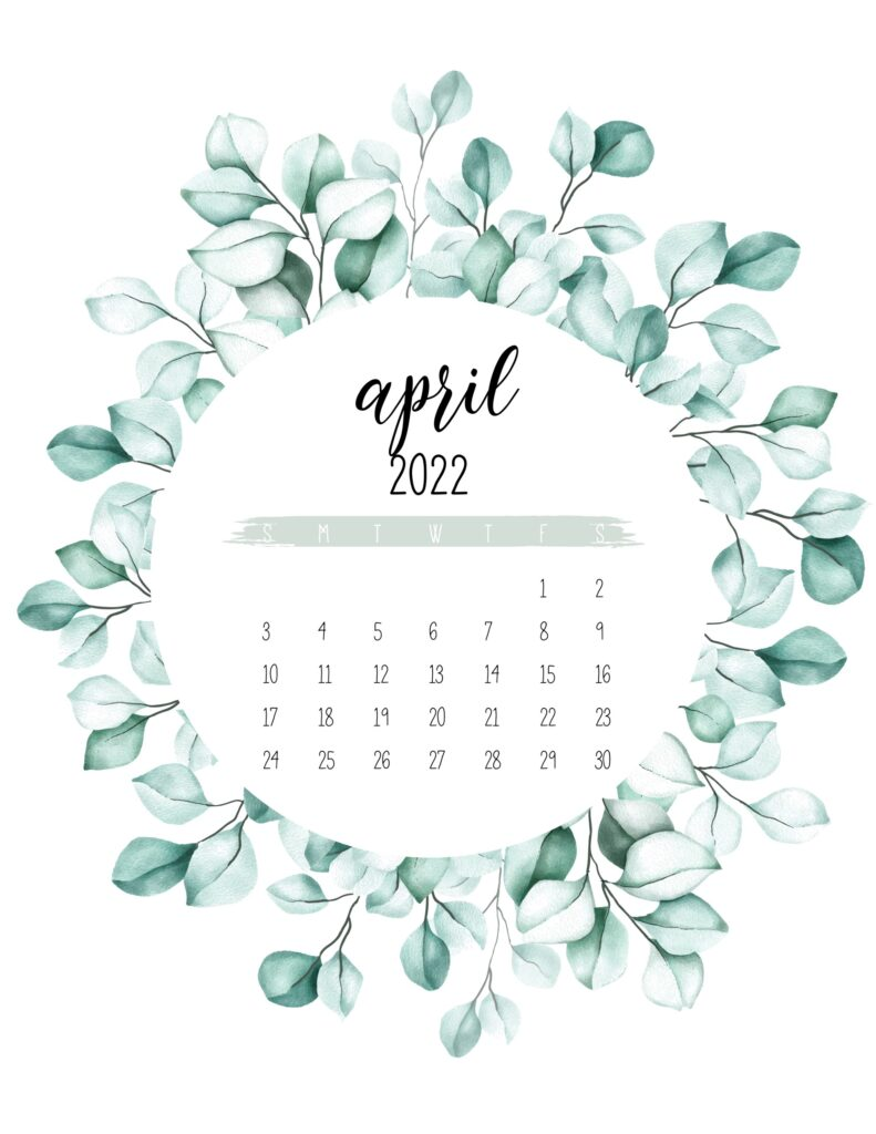 2022 calendar printable - april