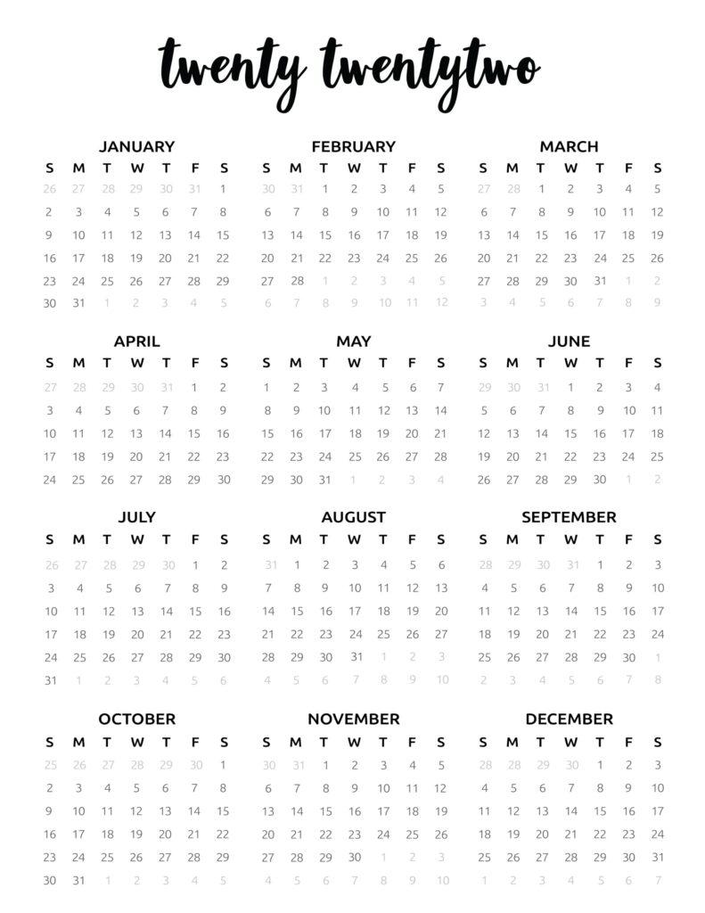 2022 calendar printable free