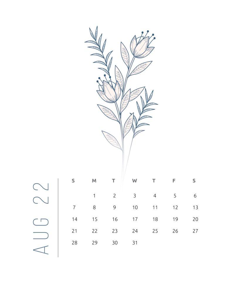 2022 calendar printable free - august