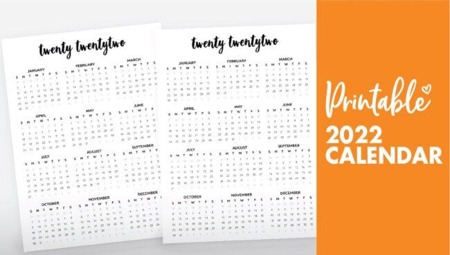 2022 calendar printable free - calendar 2022