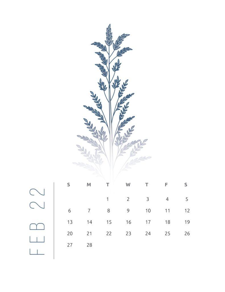 2022 calendar printable free - february