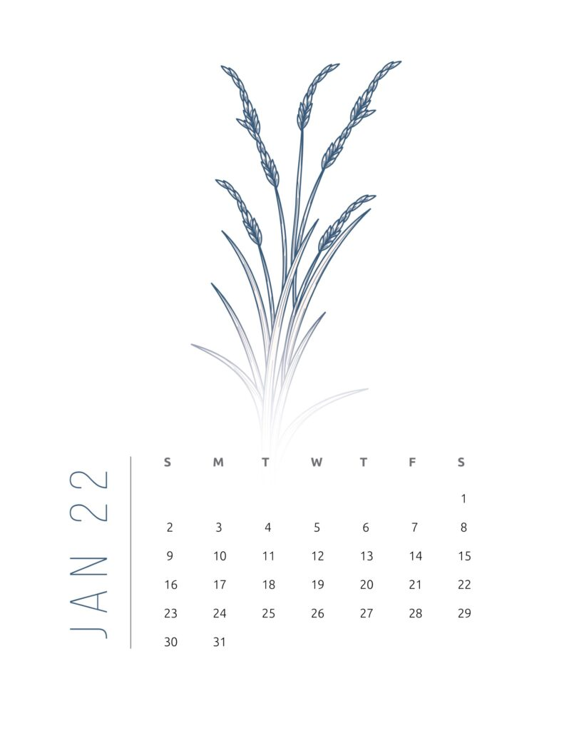 2022 calendar printable free - january