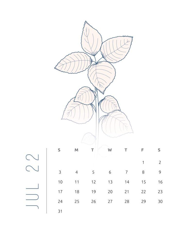 2022 calendar printable free - july