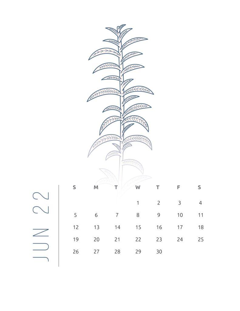 2022 calendar printable free - june