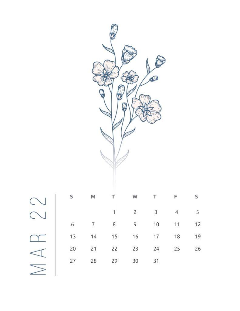 2022 calendar printable free - march