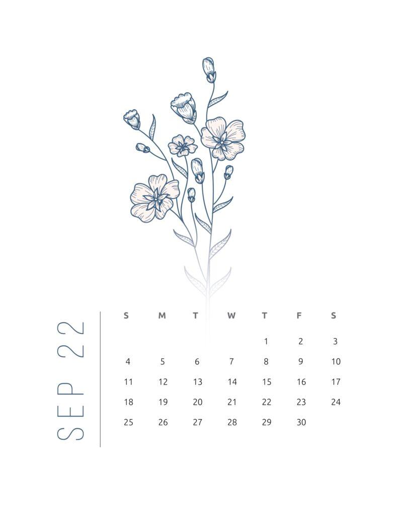 2022 calendar printable free - september