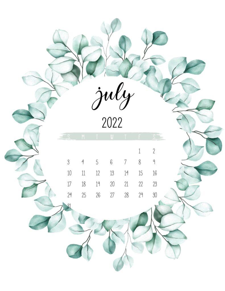 2022 calendar printable - july