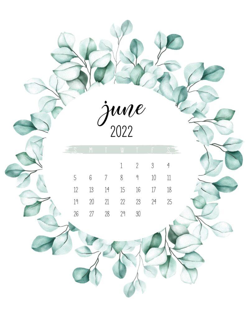 2022 calendar printable - june