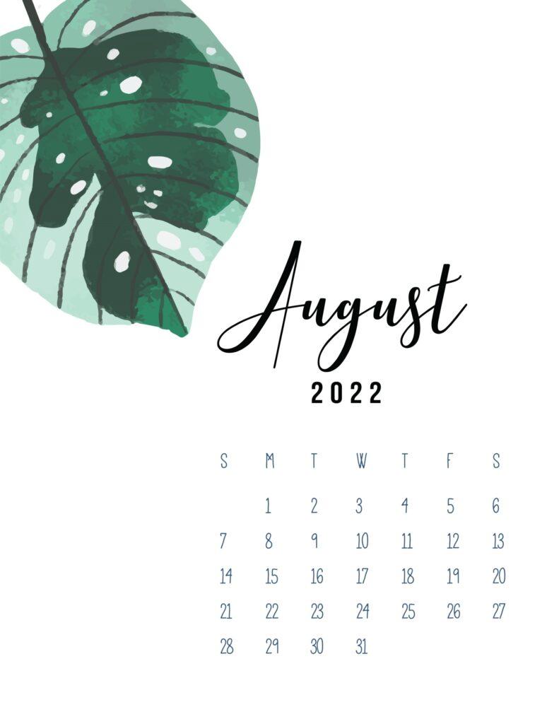 August 2022 calendar printable pdf