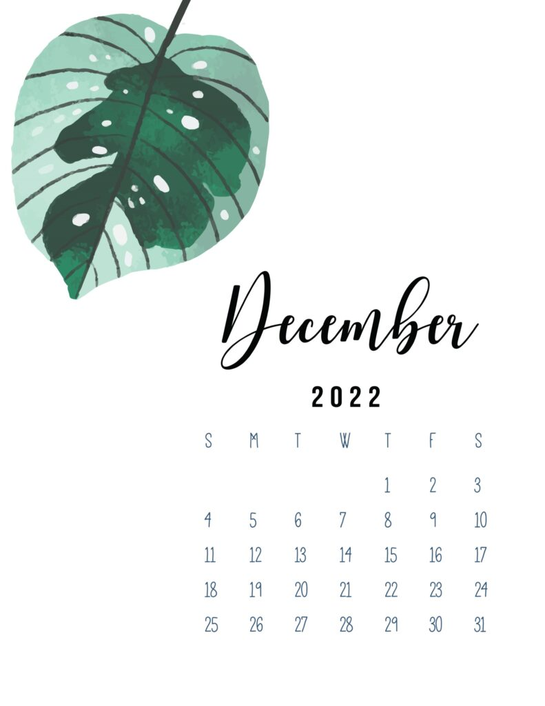 2022 December calendar printable pdf