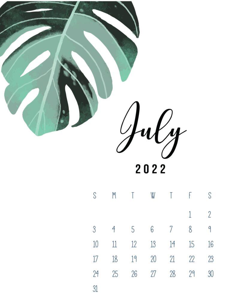 2022 calendar printable pdf - july