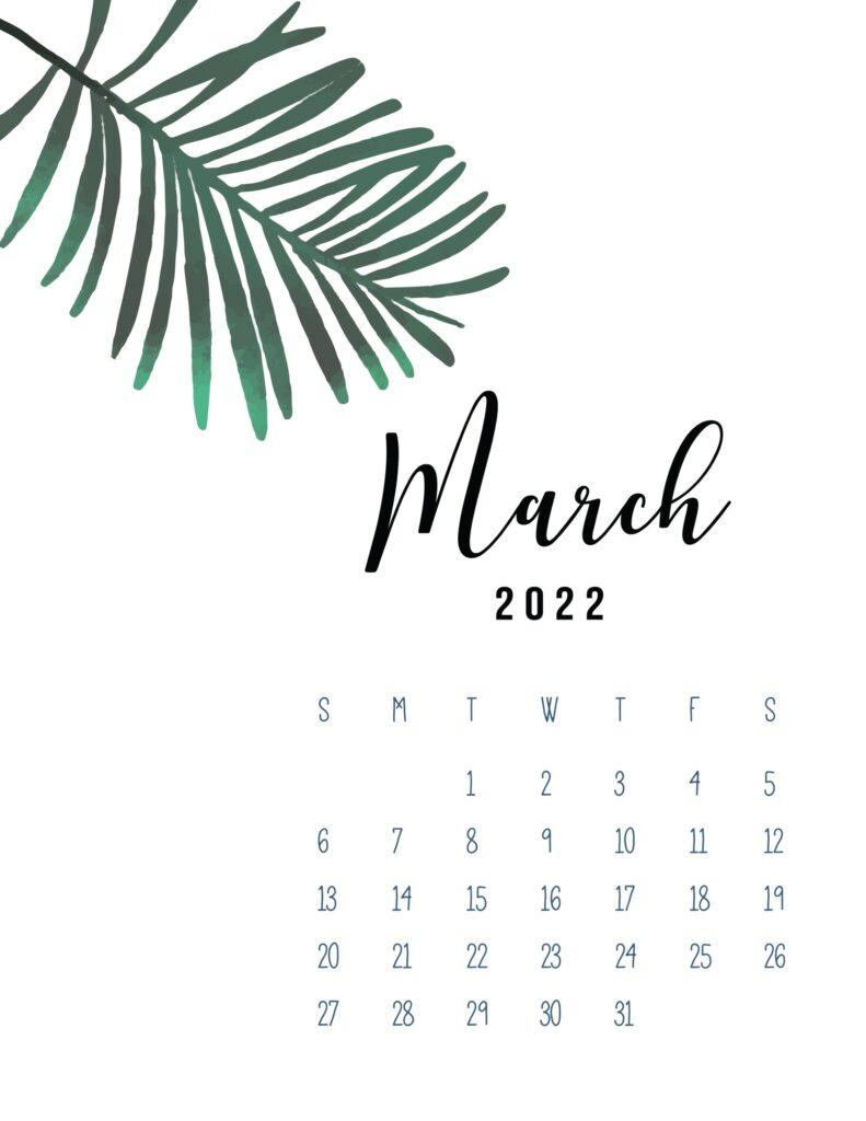 2022 calendar printable pdf - march