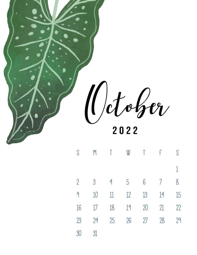 2022 calendar printable October pdf