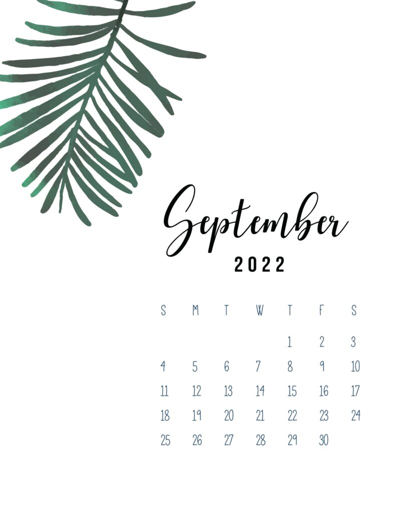 2022 September calendar printable pdf