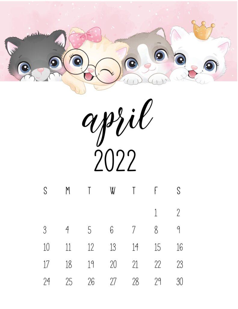 2022 cat calendar - april