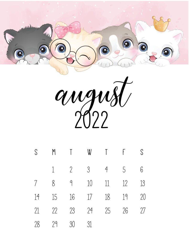 2022 cat calendar - august