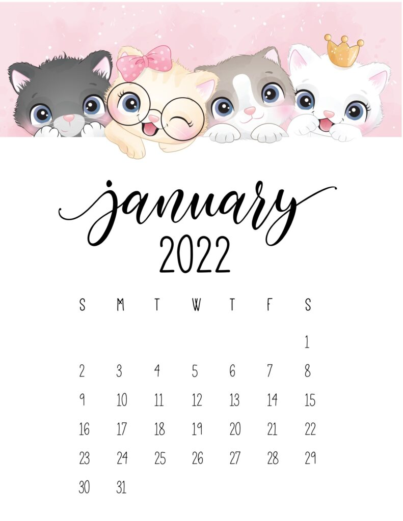 2022 cat calendar - january