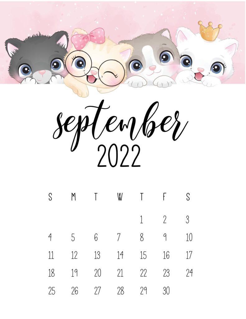 2022 cat calendar - september