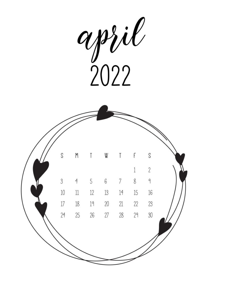 2022 free calendar - april