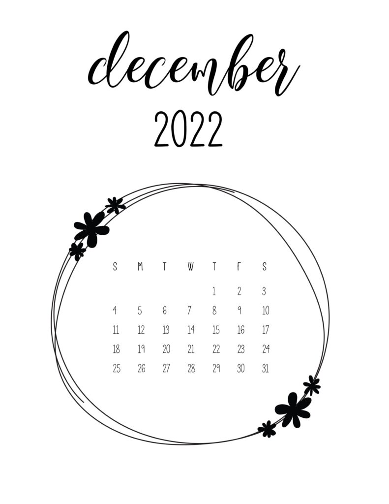 Cute 2022 free calendar - december