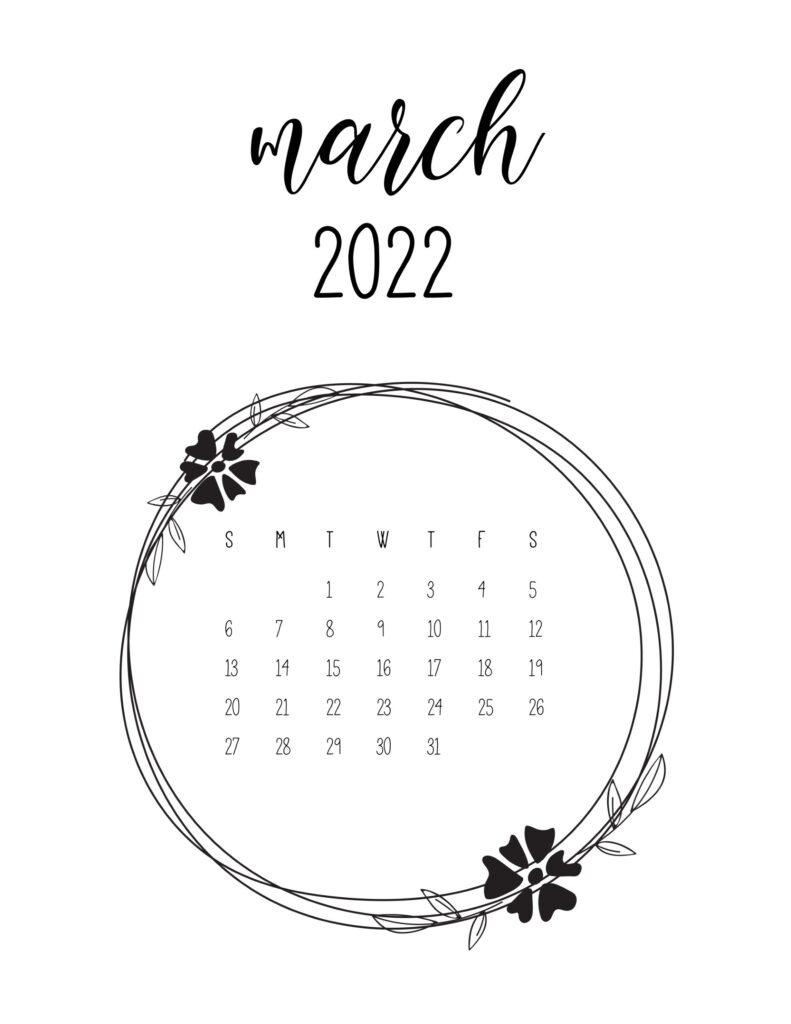 2022 free calendar - march